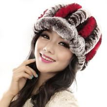 2016 New Women Winter Fashion Fur Hats Rex Rabbit Fur Caps Female Warmer Elegant Party Headwear Headdress