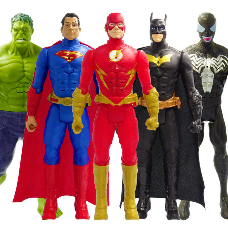 30 centímetros Vingadores Marvel Venom Hulk Wolverine Batman Superman The Flash Thanos Pantera Negra Spiderman Action Figure Boneca Brinquedos Infantis