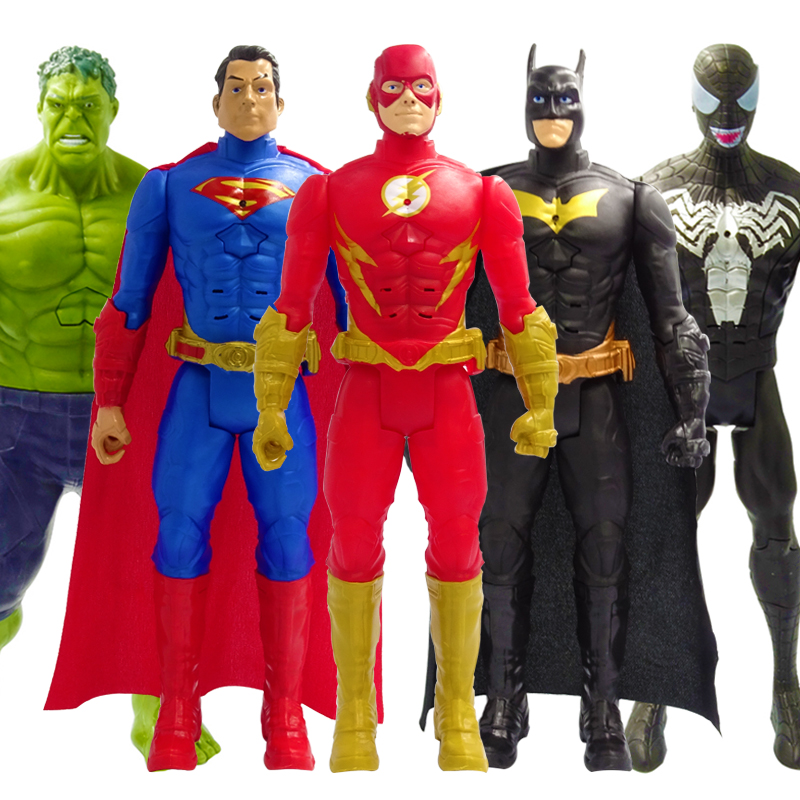 30cm Marvel Avengers Venom Batman Superman The Flash Thanos Hulk Wolverine Black Panther Spiderman Action Figure Doll Toys Kids