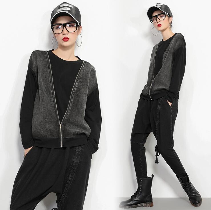 2019 nouveau mode femmes couture eau de lavage denim faux deux pièces punk slim t-shirt zipper cool T-shirt à manches longues chemise