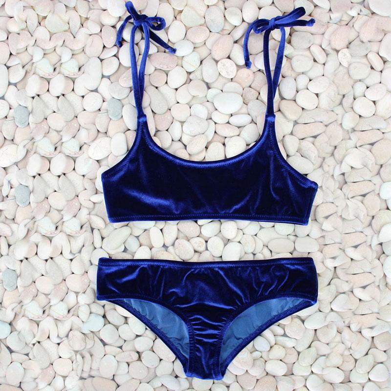 Sexy Brazilian Bikini 17 Blue Velvet Swimwear Women Swimsuit Push up Biquini Halter Bikinis Set Bathing Suit Maillot De Bain 4