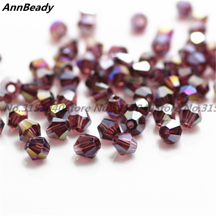100pcs Red Purple AB Color 4mm Bicone Crystal Beads Glass Beads Loose Spacer Beads DIY Jewelry