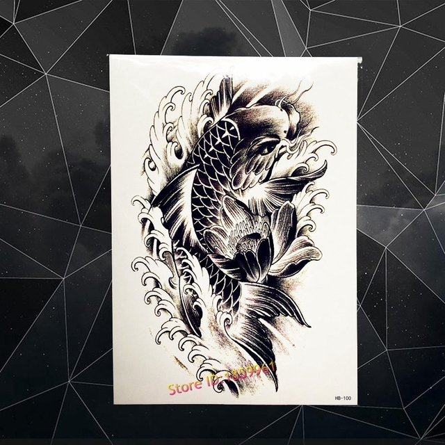 Hitam Ikan Mas Melompat Temporary Tattoo Stiker Wanita Flash Palsu