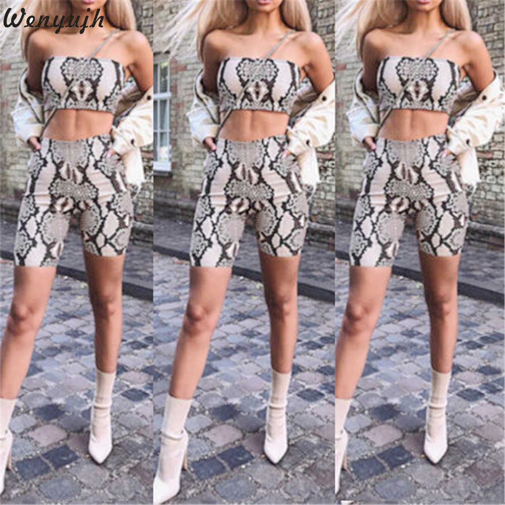 Wenyujh 2 Piece Women's Sets Snake Skin Crop Printed Top Sexy Tank Top Skinny Shorts Summer Woman Outfits Sportswear Female Set