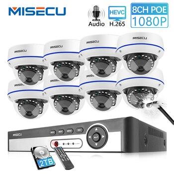 MISECU 8CH 1080 P POE zestaw monitoringu NVR kamera bezpieczeństwa CCTV System kryty Audio nagrywanie dźwięku IP kamera kopułkowa P2P nadzoru wideo zestaw
