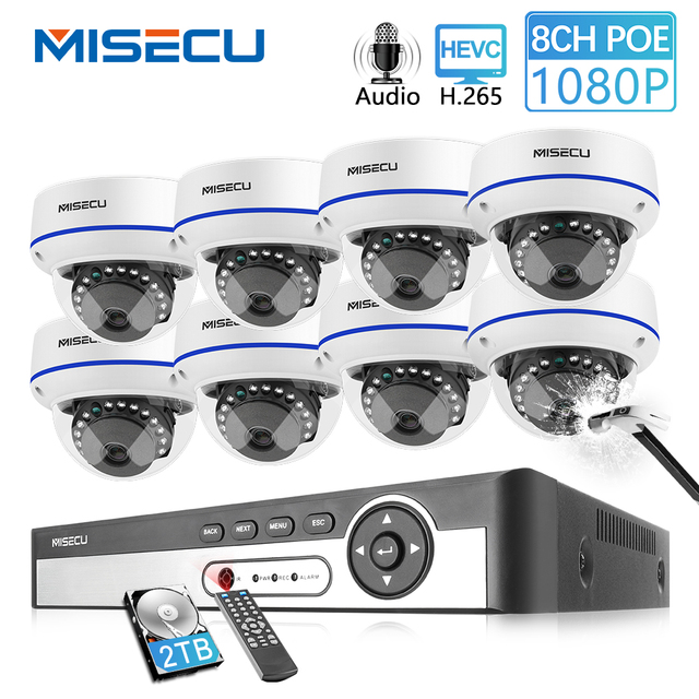 MISECU 8CH 1080P POE NVR Kit Security Camera CCTV System Indoor Audio Record Sound IP Dome Camera P2P Video Surveillance Set