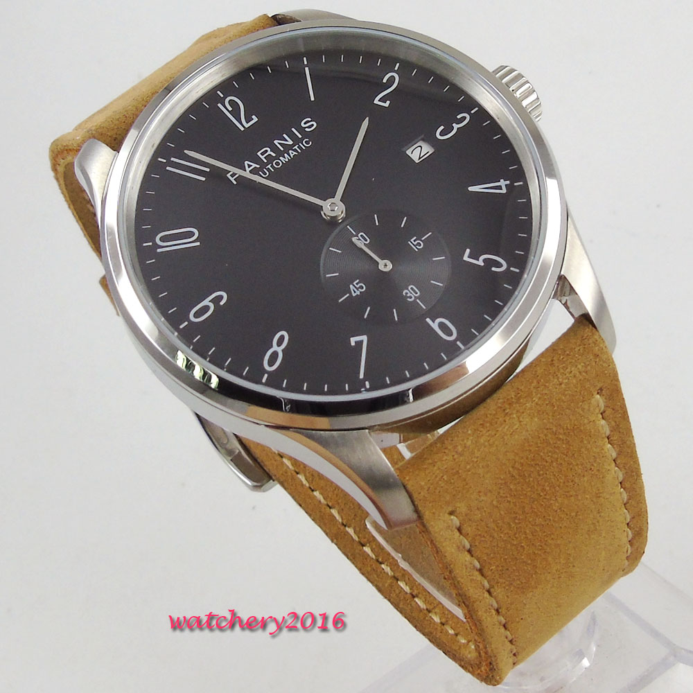 42mm Parnis Black dial Leather Strap top brand Luxury Crystal Complete Calendar ST 1730 Automatic movement Men's Wristwatches crystal gayle st catharines