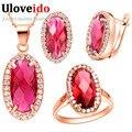 Uloveido Роуз Позолоченные Свадебные Ювелирные Наборы для Женщин Свадебные Украшения 2016 Мода Красный Кристалл Ожерелье Серьги Набор T162