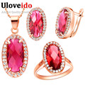 Uloveido Rose Gold Plated Bridal Jewelry Sets for Women Wedding Decorations 2016 Fashion Red Crystal Earring Necklace Set T162