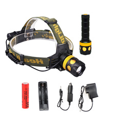 LED Headlamp And Flashlight Double Function Cree T6 Waterproof 2000lm rechargeable 18650 headlight + Chargers 3 Modes Zoomable