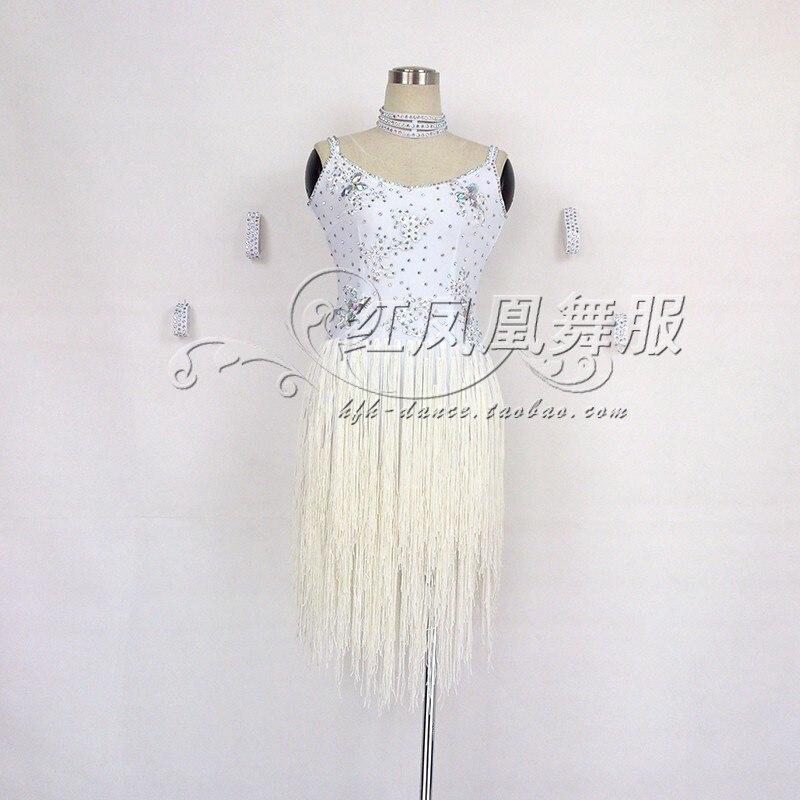 New Latin Dance Costumes Senior Sexy Embroidery Tassel