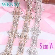 WENXI (1 YARDS) W  Crystal Rhinestone Trim With Pearls Beaded Rhinestone Bridal Applique For Wedding Gown Or Sash