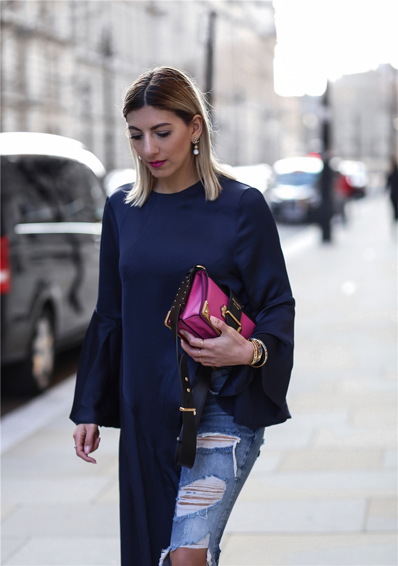 Bleu Blogueur Flare La Blue Mode Pioneer Femmes 2018 Irrégulière À Lsysag Hem Long shir Tops Tendance T Manches Navy Marine Ac54LR3qj