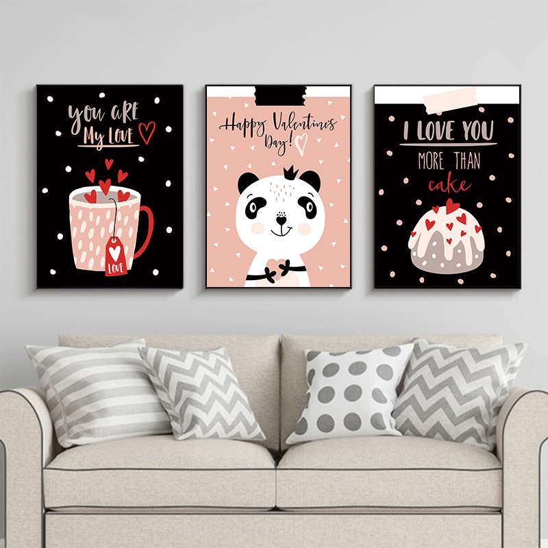 Show Love Canvas Posters and Prints Ctue Bear Animal Heart Wall Art Valentine 39 s Day Quote Painting Picture Lovers Gift Party in Painting amp Calligraphy from Home amp Garden