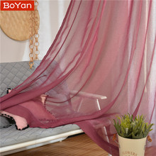 Latest Cheap 4 Colors Red WIne Window Curtains for the Living Room Plain Soild Tulle Sheer for Window Treatment Decor Salon Drap