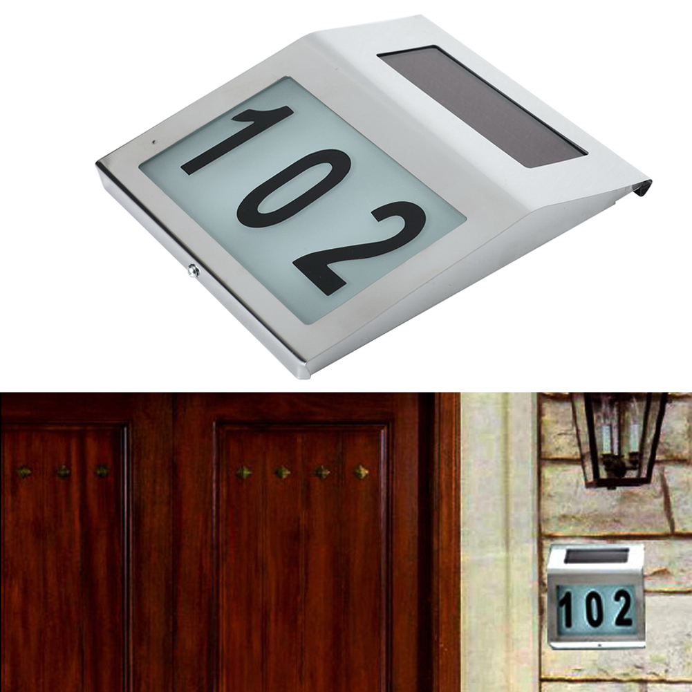 Solar Power Door Wall LED Lights Indicator Waterproof IP44 Home Road Signs Number Lamps For Garden Fence Door Yard solar powered 2 led wall mount lamp home house road signs number led light waterproof ip44 digital led number solar door light