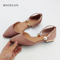 Elegant Comfortable Women Flat Shoes Sandals 2017 Summer Genuine Leather Pointed Toe Pearls Office Solid Flats