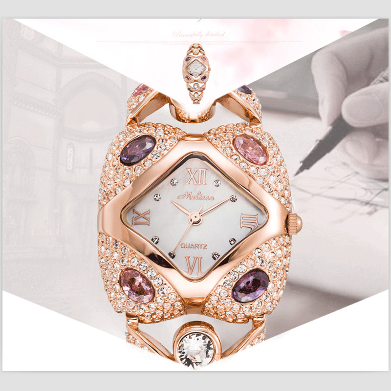 Melissa Luxury Jewelry Watches Women Gorgeous Rhinestones Bangle Watch Vintage Palace Stylish Hollow Bracelet Wrist watch Square stylish golden hollow rounded rectangle hasp bracelet for women