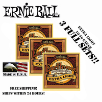 3 Packs Ernie Ball 2006 Earthwood Extra Light 80 20 Bronze Acoustic Guitar Strings Set 010