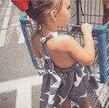 New 2017 Summer Girls Dress Kids Stripe Dress Children Five Star Overalls Baby Backless Dress Toddler Fashion Dress,2-7Y