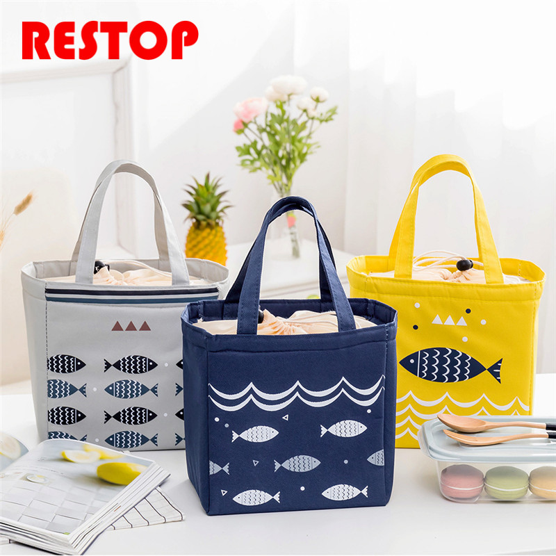 2018 Fish Waterproof Oxford Lunch Bag Thermal Food Picnic Lunch Bags for Women kids Men Cooler Lunch Box Bag Tote RES1007
