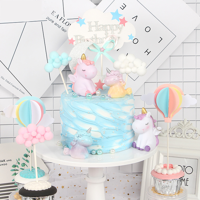 Pink Unicorn Cake Topper Cloud Balloons Decoration Birthday Flags Wedding Dessert Table Baking Decor In Decorating Supplies
