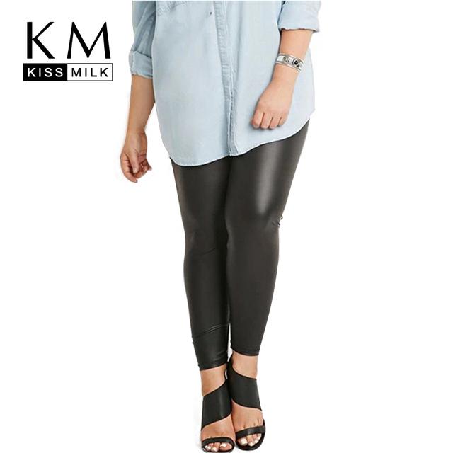 Kissmilk Plus Size Nuevas Mujeres Stretch Tamaño Grande de Charol Negro Pantalones Delgados 3XL 4XL 5XL 6XL