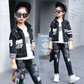 Girls Cowboy Suits Spring Coat Autumn Enfant Fille Fashion Long Sleeve Kids Clothing Sets 2 Pieces Cowboy Suits Free Shipping