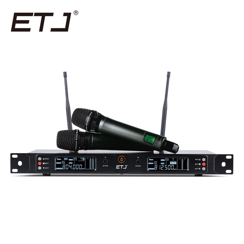 Free shipping! ETJ Brand Professional UHF Wireless Mic Stage Performance Microphone System ET-8000