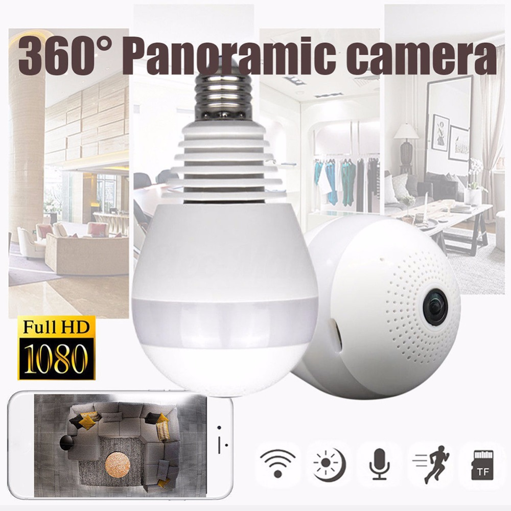 Home Security WIFI Wireless Camera 360 Degree Panoramic View IR Night Shot Camera Smart Light Bulb With Mobile Phone Controller цена