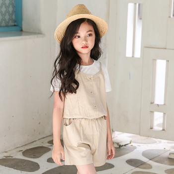 6 to 16 years 2018 summer kids & teenager girls cotton linen casual one piece jumpsuits children summer overall pants clothes