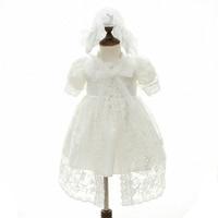 3 шт. новые Брендовое платье для маленькой девочки с shwal + шляпа для Обувь для девочек 1 год День рождения крестины платье Высокое качество