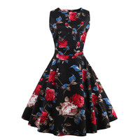 2016 New Women Spring Ball Gown Party Wear Dress Princess Dress Sleeveless Floral Printing Retro Vintage Party Black Dress
