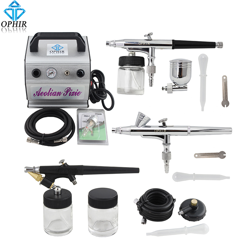 OPHIR Dual-Action & Single-Action Airbrush Kit with Air Compressor Airbrush Pots for Model Car Painting Hobby _AC088+005+071+073 ophir 0 3mm dual action airbrush kit with air compressor