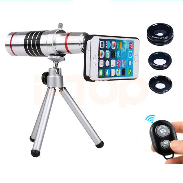 2017 teléfono lentes kit 18x zoom telescopio teleobjetivo para iphone 6 6 s 7 plus 5 5S 4 4S samsung fisheye gran angular macro lente