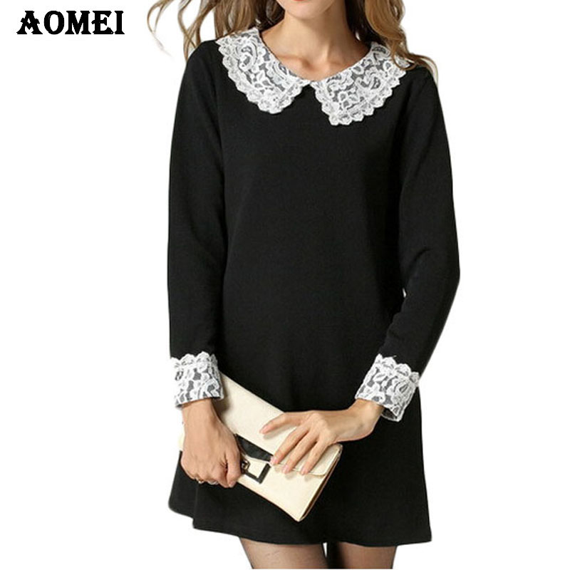 2018 Spring Plus size Black Lace Office Dress Vintage Brief Shift Long  Sleeve Dresses Tunics 5XL Peplum Women Elegant Clothes-in Dresses from  Women s ... 5ffd466beb29