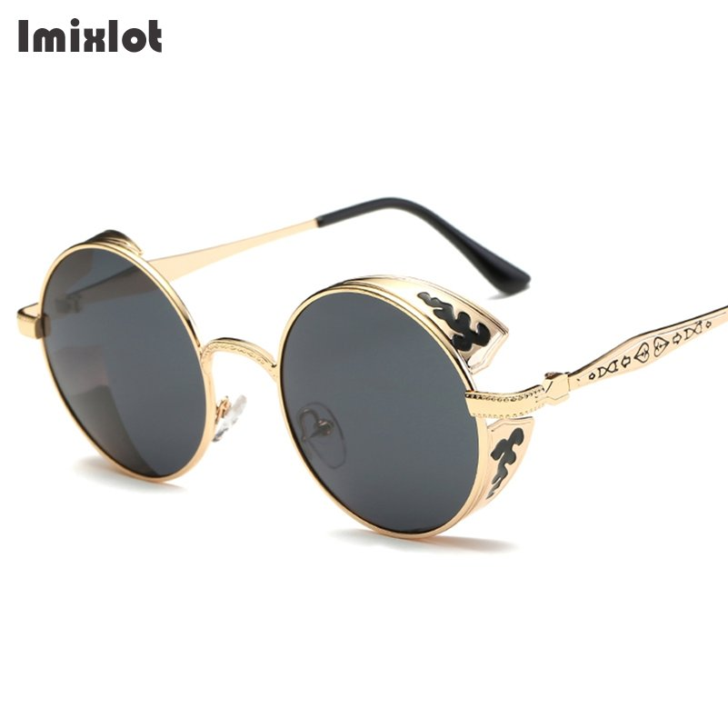 Imixlot Steampunk Vintage Sunglass Fashion Round Sunglasses Women Brand Designer Metal Carving Sun Glasses Men oculos de sol #02