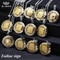 """Ouro e prata 2 tom aço inoxidável medalhão 12 sinais de zodíaco pingente de colar de 21.6 """" polegadas de jóias"""