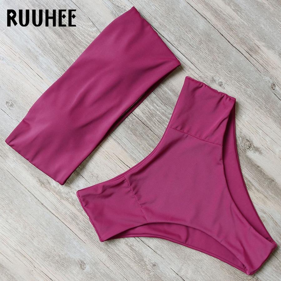 RUUHEE Solid Bikini Swimwear Swimsuit Women 2018 Bikini Set Strapless Bandage Bathing Suit High Waist Female Beachwear Swimsuit stylish strapless fringed beading bikini set for women
