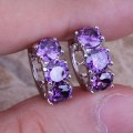Unusual Purple Amethyst 925 Sterling Silver Huggie Hoop Earrings For Women  S0190