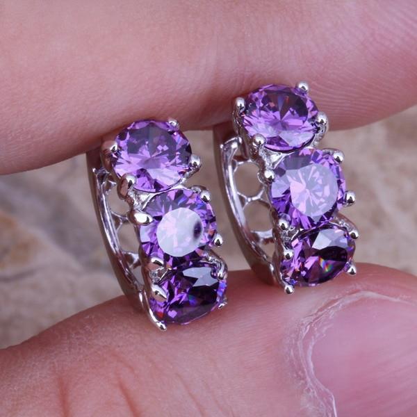 Pendientes de aro de plata de ley 925 con circonita cúbica púrpura inusual para mujer S0190