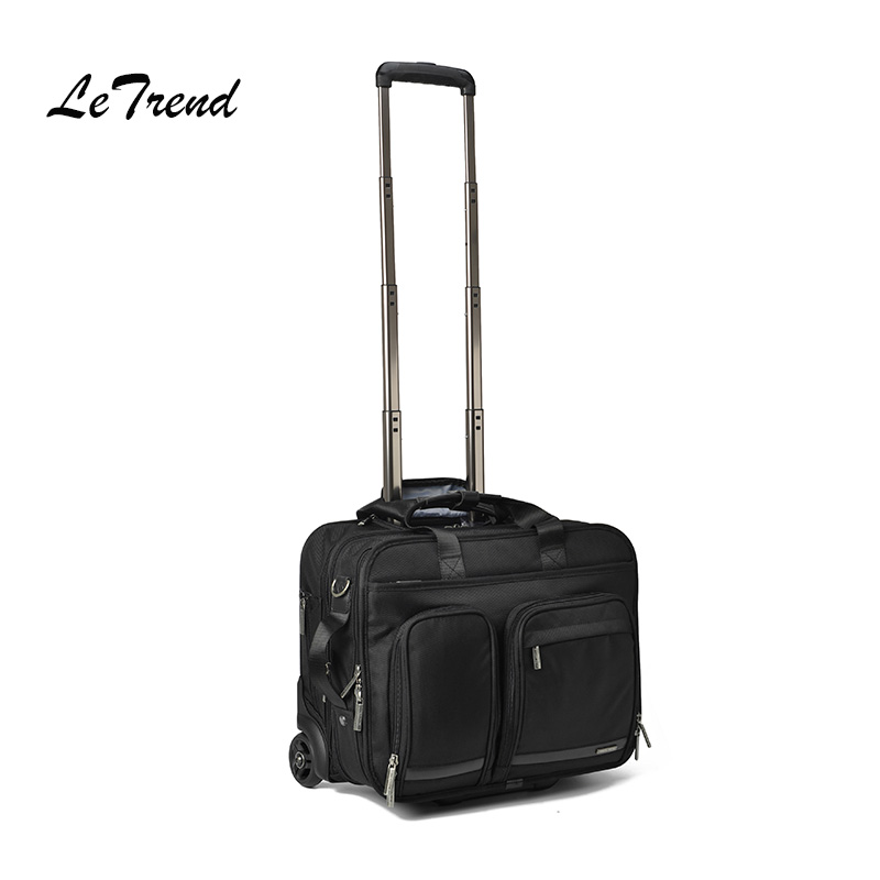 LeTrend Business Men Rolling Luggage 18 Inch Hand Trolley Multifunction Carry On password Suitcase Wheels Laptop Travel Bag 2024inch universal wheels luggage abs mute rolling travel bag password lock trolley suitcase colorful hand pull box