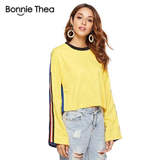 329c1c488ad bonnie thea autumn Cotton yellow blue short T-Shirt Women Casual loose tee  tops Female 2018 Striped Tshirt woman chothing