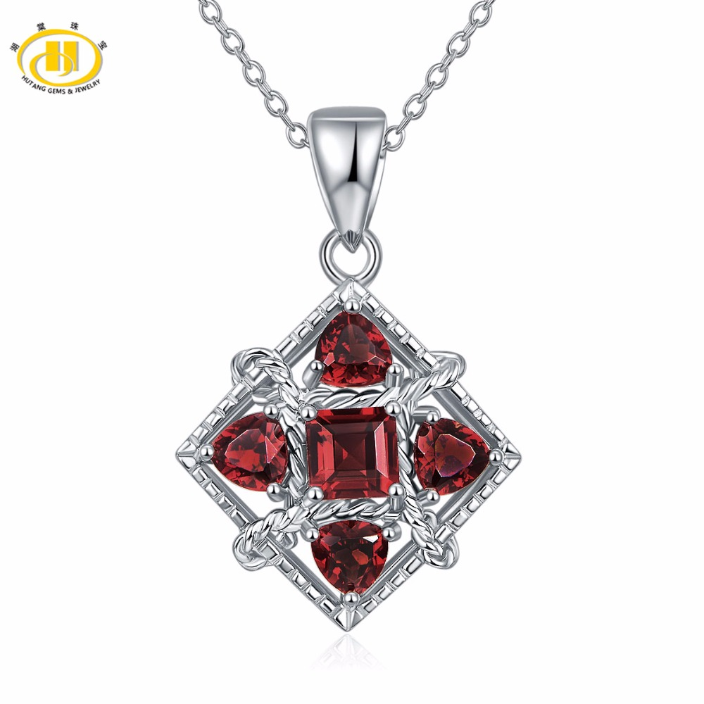 Hutang Real 2.0ct Natural Gemstone Red Garnet Pendant Necklace Solid 925 Sterling Silver Necklace Fine Jewelry For Women's Gift