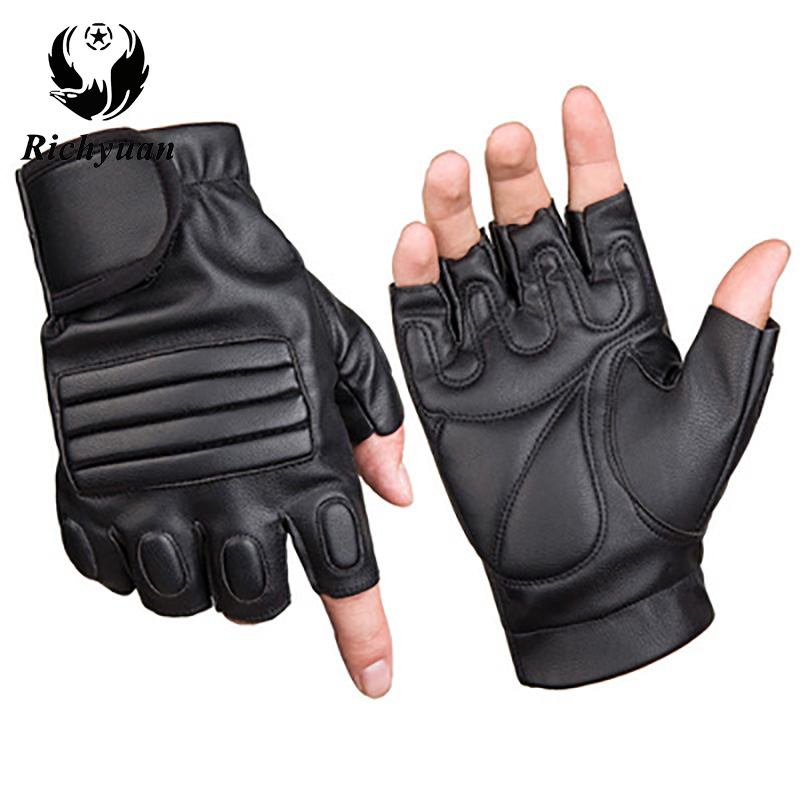 Washed Leather Outdoor Sports Riding Fitness Half Finger Gloves Tactical Gloves