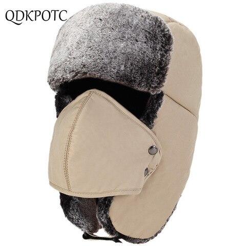 QDKPOTC Winter Cold protection Warm Bomber Hats Men Snow Caps Thicken Unisex Bomber Hat Masks Cap Casual  Bone Hats Pakistan