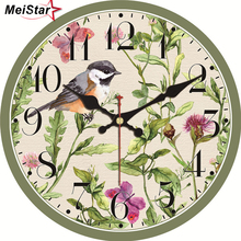 hot deal buy meistar natural scenery wall clocks birds magpie design fashion silent living study office kitchen home decor art wall clocks