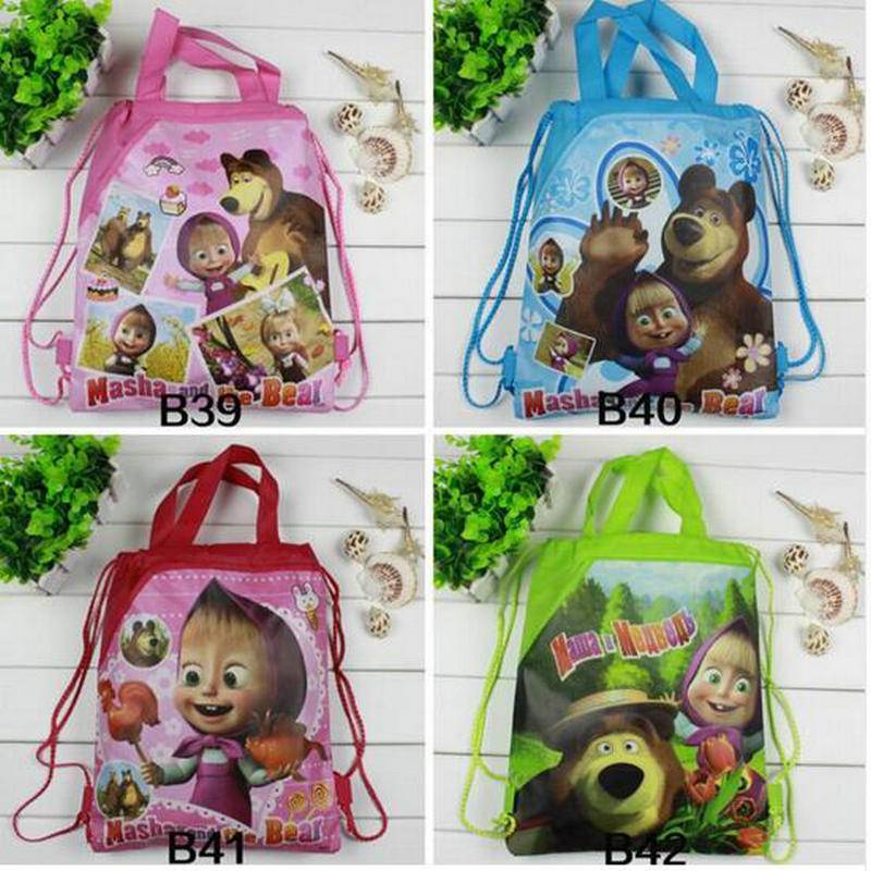 Hot Sale Girls Boys Cartoon Children School Bags Cute Drawstring Masha & Bear Shopping Bag Beach Birthday Party Bag 12 Pcs hot sale girls boys cartoon children school bags cute drawstring masha