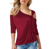 NEUE Frauen Weg Schulter Rüschen Tops 3/4 Hülse Asymmetrische Einfarbig T-Shirt Lässig Schwarz Weinrot Lose T-shirts Blusas