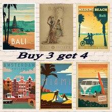 Surf en el budismo de Indonesia, budismo, pinturas recubiertas de viaje, póster Vintage de Roma/visita, carteles de viaje, decoración para el hogar, regalo